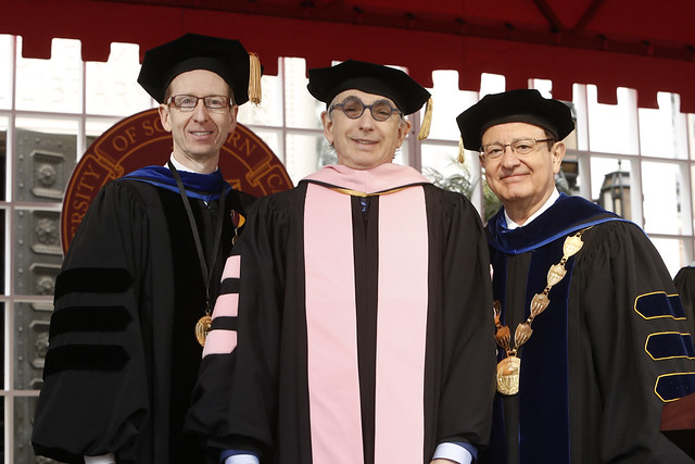 USC Provost Michael Quick, Honorary Degree Recipient Michael Tilson Thomas, USC President C. L. Max Nikias
