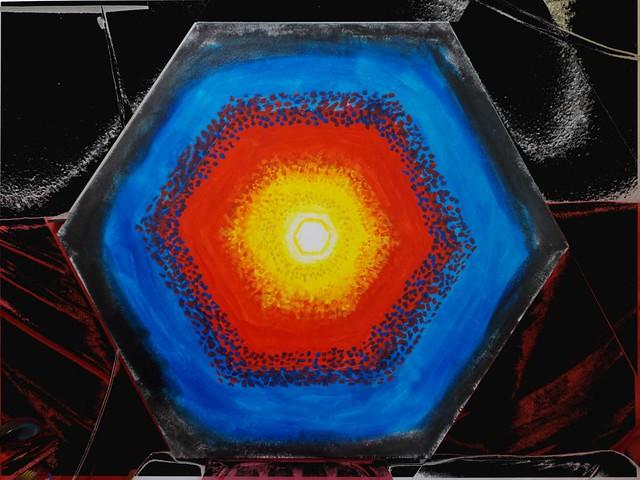 Supernova (acryl, canvas, O 105 cm)