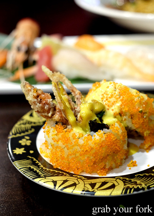 Soft shell crab sushi at Ashin, Campsie