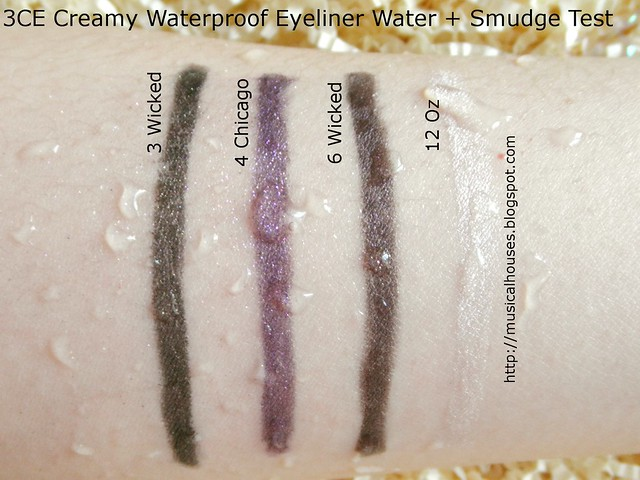 3CE Creamy Waterproof Eyeliner Waterproof Smudge Test