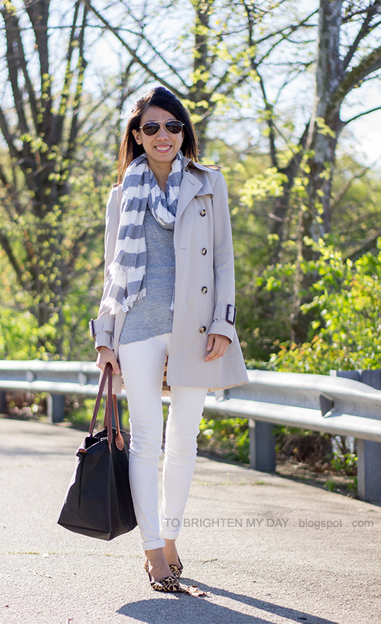 rugby striped scarf, trench coat, gray tee, white jeans, leopard printed flats