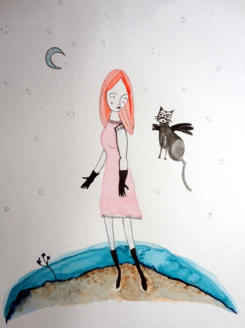 Girl and flying cat, by Míriam - DSC086241