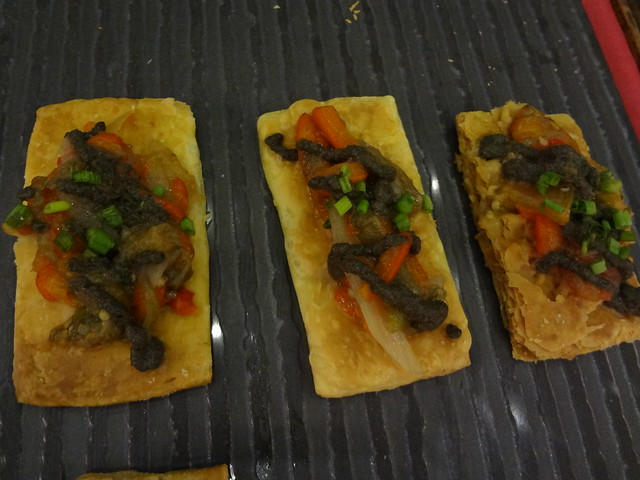 Puff Pastry Tart with Roasted Veggies and Black Olive Paste