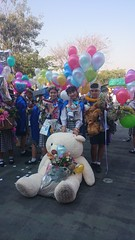a big teddy joins the graduation activities