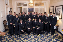 Adm. Harry B. Harris Jr., commander of U.S. Pacific Fleet, poses for a group photo with midshipmen from the U.S. Naval Academy following an Asian American and Pacific Islander Heritage month banquet. (U.S. Navy/MC2 Jonathan L. Correa)