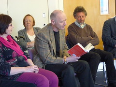 James Robertson reads at Bus Party event at the University of Stirling, April 2015