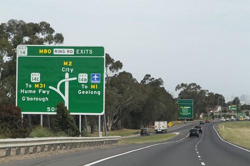 New signage citybound on the Tullamarine Freeway at the Western Ring Road