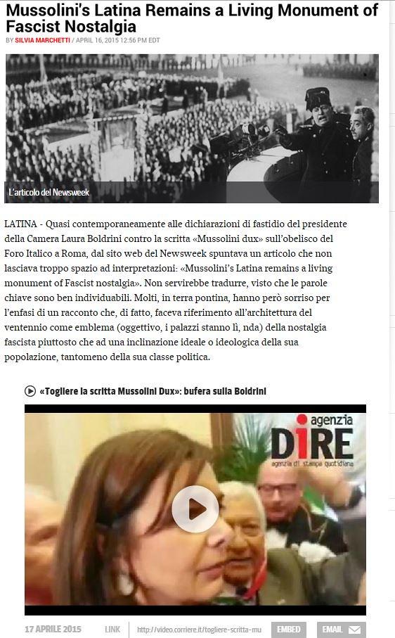 LATINA ARCHEOLOGICA & RESTAURO ARCHITETTURA: POLEMICHE Latina, una mostra sul duce e il sindaco vorrebbe la Boldrini, CORRIERE DELLA SERA (26|04|2015) & NEWSWEEK, USA (16|04|2015).