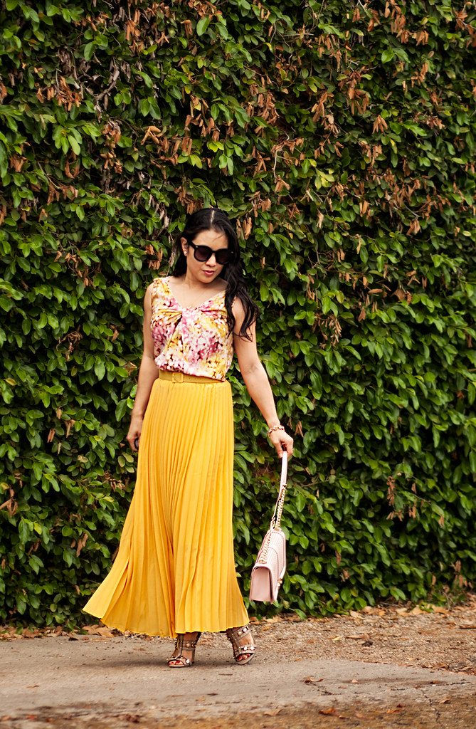 cute & little blog | petite fashion | floral shell, mustard yellow pleated maxi skirt, shoedazzle azzurra taupe studded sandals, minkoff love crossbody pink bag | spring summer outfit