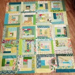 Scrappy wonky log cabin quilt top