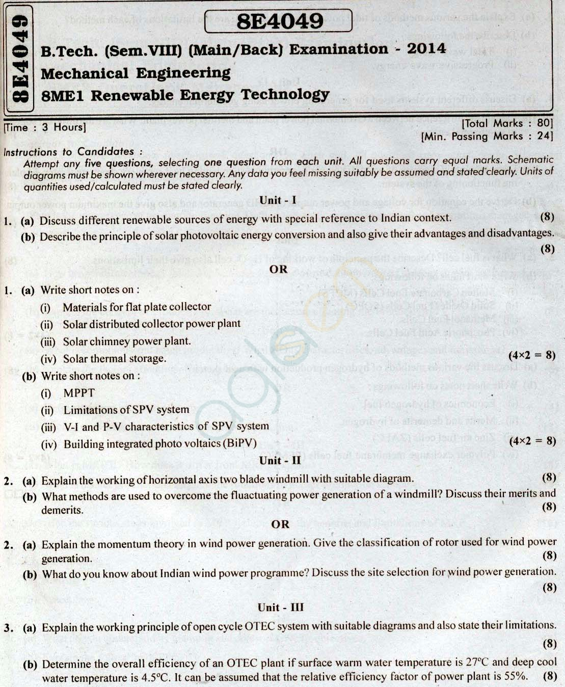 RTU: Question Papers 2014 - 8 Semester - ME - 8E4049
