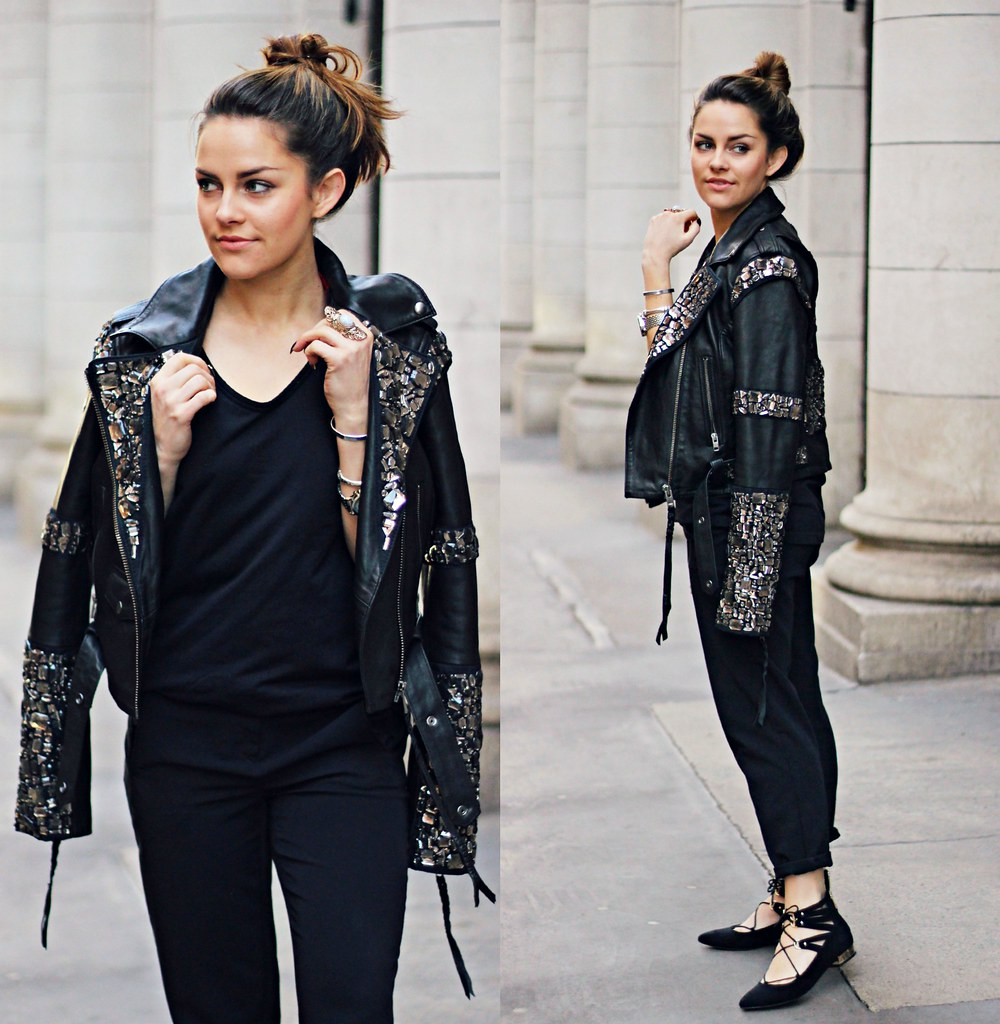 Superdry embellished black leather jacket 2