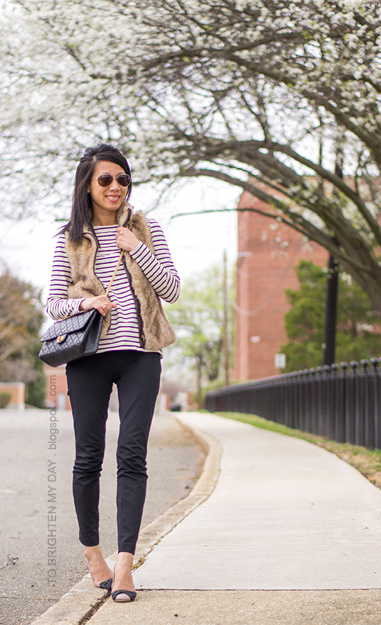 faux fur vest, striped tee, bow flats