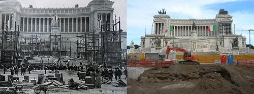 ROMA ARCHEOLOGICA & RESTAURO ARCHITECTTURA: Roma, ALTARE DELLA PATRIA - Primi anni del 1900, monumento in costruzione (1900)   Roma, ALTARE DELLA PATRIA - Metro C Piazza Venezia (2008) [04 2015].