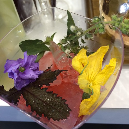 Edible flowers in a light cocktail.