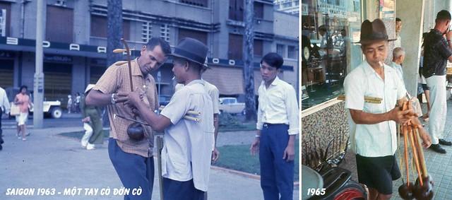 SAIGON 1963-65 - Một tay cò đờn cò đang dụ khách nước ngoài mua đờn cò