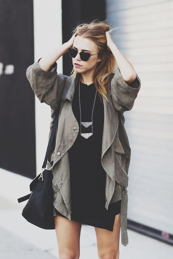 Military style green olive street style inspiration01