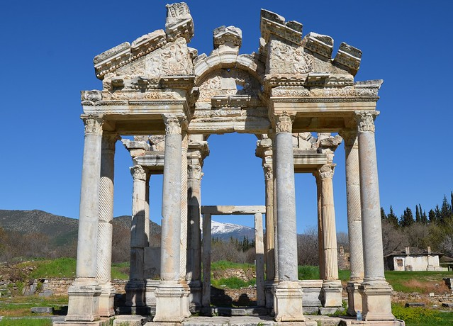 The Tetrapylon, a monumental gateway leading from the main north-south street of the town into a large forecourt in front of the Temple of Aphrodite, built ca. 200 AD, Aphrodisias, Turkey