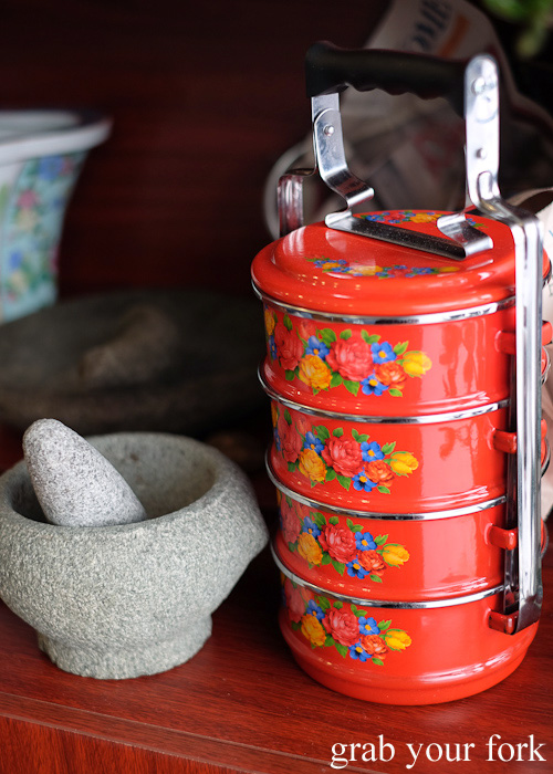 Peranakan traditional metal tiffin at Peranakan Place, Auburn