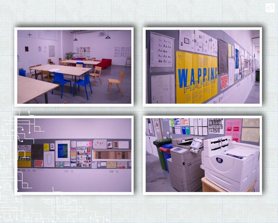 Graphic Design Studio, painel de referências e impressoras.