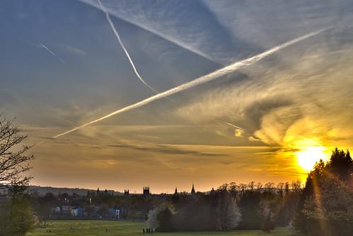 park sunset sky sun green clouds oxford