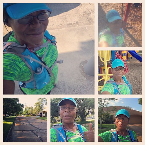 Had fun running my 8.30 miles this morning. The run was cut short because I got hungry. I decided to throw in the towel for breakfast. I tested my new hydration pack, played at the park, ran by my mom's house and enjoyed the neighborhoods. I just like to