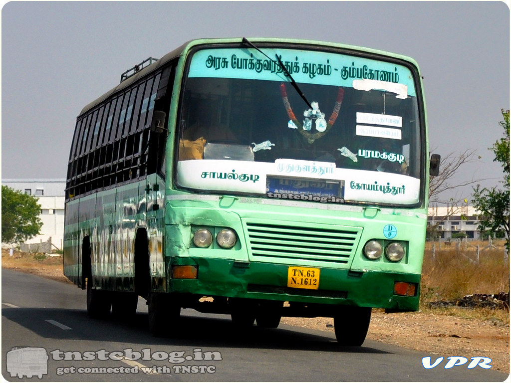 TN-63N-1612 of Mudhukulathoor  Depot Route Sayalkudi - Coimbatore  via Mudhukulathoor, Paramakudi, Madurai, Ottanchatiram, Dharapuram.
