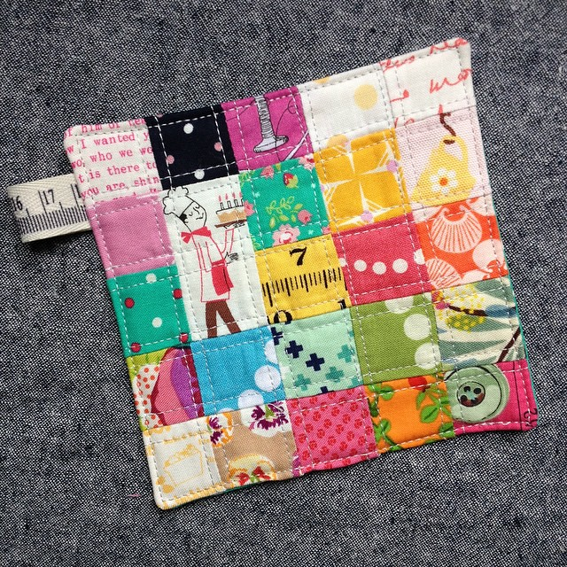 I hope @fabricmutt doesn't mind I copied her tiny patchwork coaster idea, as the little chef from #lightheartedfabric was begging to be made into one