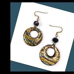 polymer clay & resin Crackle Hoop Earrings