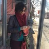 knitting at the bus stop