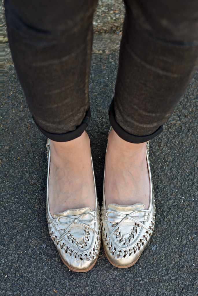 Skinnies and metallic woven loafers
