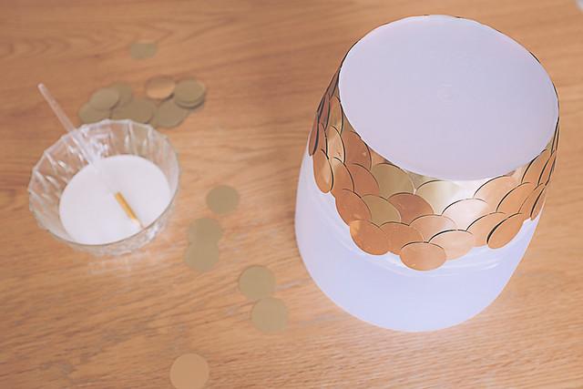 DIY plante, cache-pot confettis lamés