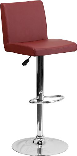 Flash Furniture 2-Pack Contemporary Vinyl Adjustable Height Bar Stool with Chrome Base, 43.75-Inch, Burgundy