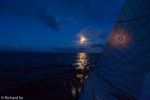 Sailing in the Salish Sea under a full moon