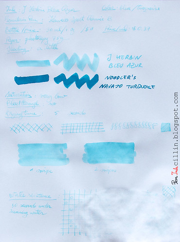 J Herbin Bleu Azur on photocopy