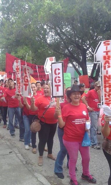 Central General de Trabajadores (CGT) unionists march in Honduras for May Day 2015