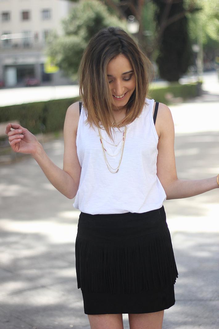 Fringed Black Skirt heels denim jacket13