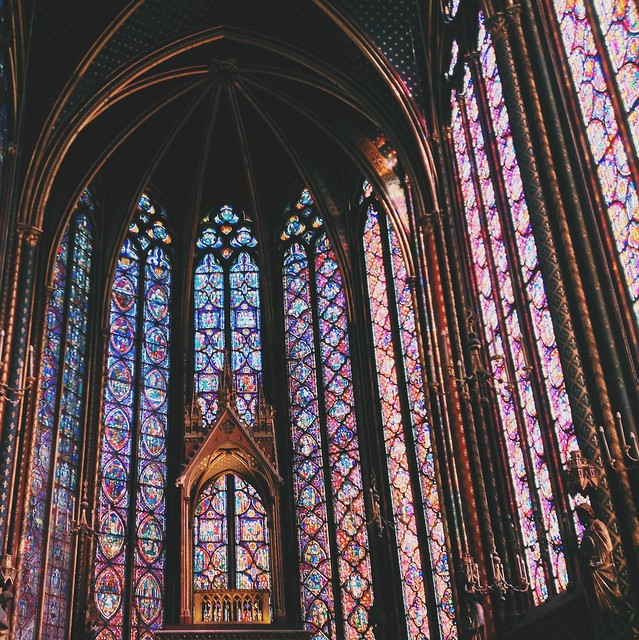 Stunning stained glass at chapel Sainte-Chapelle.