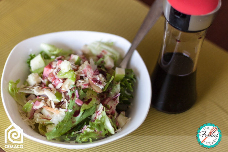Green Salad with Hibiscus /Roselle/Rosa de Jamaica Infused Vinegar