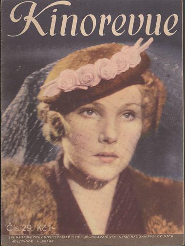 Časopis Kinorevue 1936-37 č. 29, Jiřina Šejbalová
