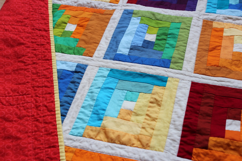 Solid Rainbow Log Cabin Quilt