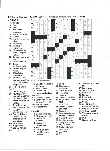 NYT Thursday Puzzle - April 16, 2015