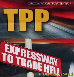 #TPP - Expressway to Trade Hell bumper sticker on my car