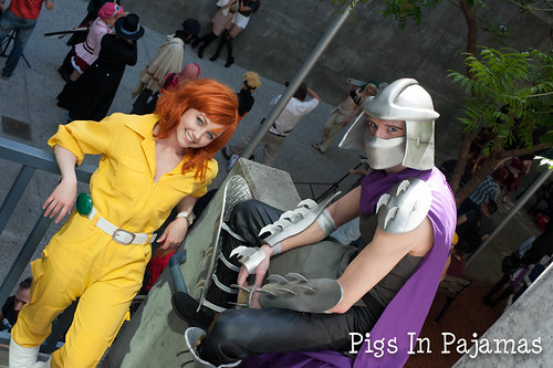 April O'Neil and Shredder hanging out
