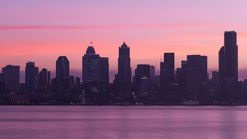 seattle longexposure morning water contrast sunrise washington downtown cityscape smooth pacificnorthwest greatwheel