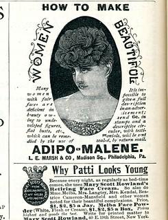 Adipo-Malene breast developer / Mary Scott Rowland's Retiring Face Cream 1896