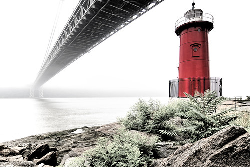 newyorkcity bridge red lighthouse newyork fog river newjersey view hudsonriver hdr gwb washingtonheights mudpig stevekelley