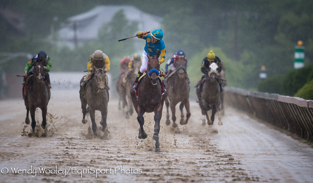 American Pharoah (Pioneerof the Nile) and jockey Victor Espinoza win the Preakness Stakes (Gr I) at Pimlico Racecourse 5/16/15. Trainer: Bob Baffert. Owner: Zayat Stables