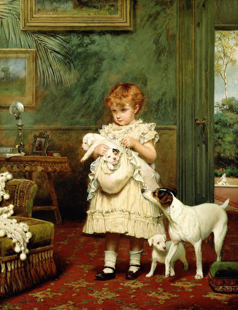 Girl with Dogs by Charles Burton Barber, 1893