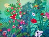 Tropical mural in the lobby bar of the Arlington Hotel in @hotspringsnationalpark